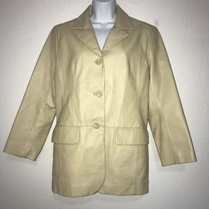 Excelled Creamy Tan Leather Jacket M